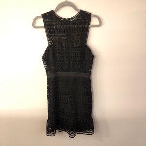 Bebe Black Crochet Cocktail Dress 4